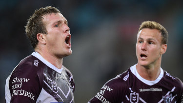 Jake Trbojevic (left) reacts to being sin-binned in last night's loss to South Sydney.