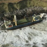 The abandoned cargo ship MV Alta, that has washed up on the coast of County Cork, near Ballycotton, southern Ireland.