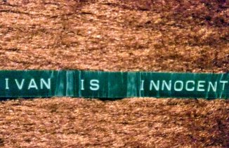 One of the Dymo labels Ivan Milat used in prison to claim his innocence.