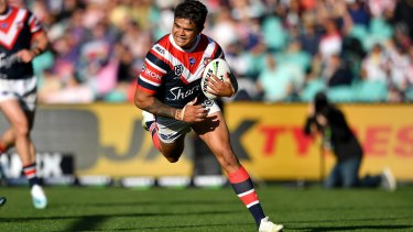 Latrell Mitchell goes over for a try at the SCG.