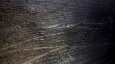 The Codelco Chuquicamata open pit copper mine near Calama, Chile.