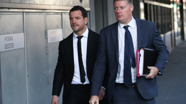Mullen arrives at court in Newcastle last year after being charged with drug offences.