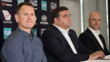 Brendon Bolton, Carlton president Mark LoGiudice and CEO Cain Liddle announce the coach's departure.