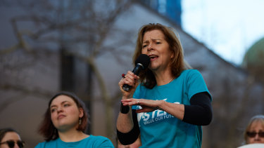 Michele O'Neill at a rally in Sydney on Wednesday