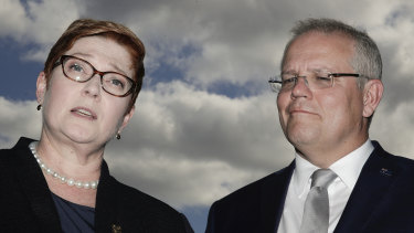 Foreign Affairs Minister Marise Payne and Prime Minister Scott Morrison address the media while attending the UN General Assembly meeting in New York.