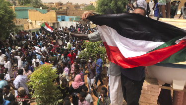 Sudanese protesters gather outside the house of a man killed by security forces on June 3 in Khartoum.