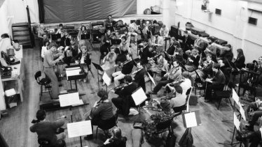 An earlier incarnation of Orchestra Victoria in 1982 rehearsing at St Peter's church hall.