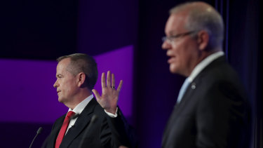 Labor leader Bill Shorten and Prime Minister Scott Morrison during the debate at the National Press Club.