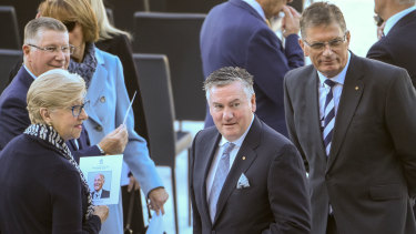 Broadcaster Eddie McGuire and former Victorian premiers were among the mourners.
