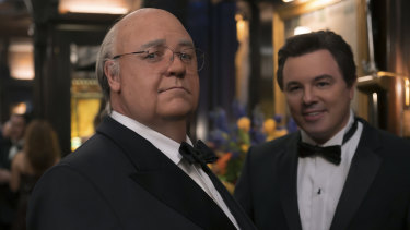 Russell Crowe as Roger Ailes, pictured left Brian Lewis (Seth MacFarlane) in The Loudest Voice.