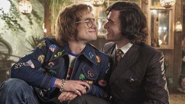 Taron Egerton as Elton John and Richard Madden as his lover John Reid in Rocketman.