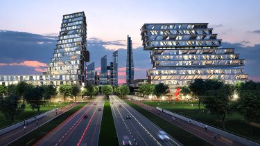 An artist's impression of plans by Australian Education City for a $31 billion university, residential and employment district it wants to build in East Werribee.