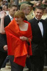 Rare sighting: Angela Merkel with husband Joachim Sauer in 2004.