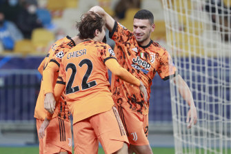 Juventus players celebrate Alvaro Morata's opener in the Champions League win over Dynamo Kyiv.
