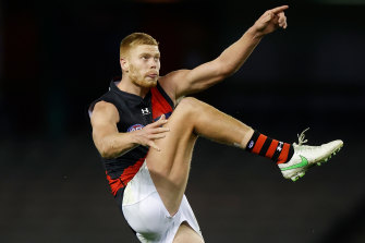 Peter Wright booted seven goals for the Bombers in their win over the Bulldogs.
