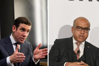 AFR Rich Lister Lex Greensill and his biggest client, British steel billionaire Sanjeev Gupta.