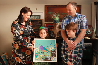 Ann-Maree Ager with daughter Nikita,  husband David and son Aidan.  Ann-Maree and Nikita, 7, had been looking forward  to exhibiting their art at the show.