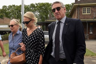Phoebe Burgess's mother Sarah Hooke (left), her sister Harriet and father Mitchell Hooke leave Moss Vale Local Court on Monday.