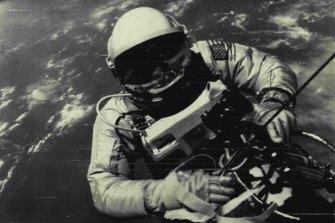 Gemini IV astronaut Edward White during his space walk.