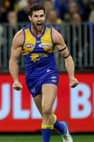 Jack Darling kicks a crucial late goal for West Coast.