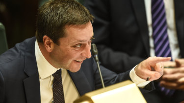 Matthew Guy in parliament on Wednesday. He claims his settlement saved taxpayers.