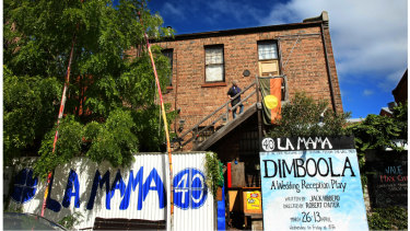 The iconic La Mama theatre in Faraday Street, Carlton.