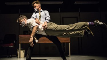 Joshua Thomson (younger man) and Gavin Webber (older man) in Cockfight.