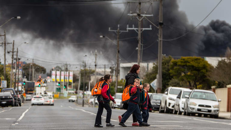 Students from Kingsville Primary school were taken home after the school was closed due to the fire.