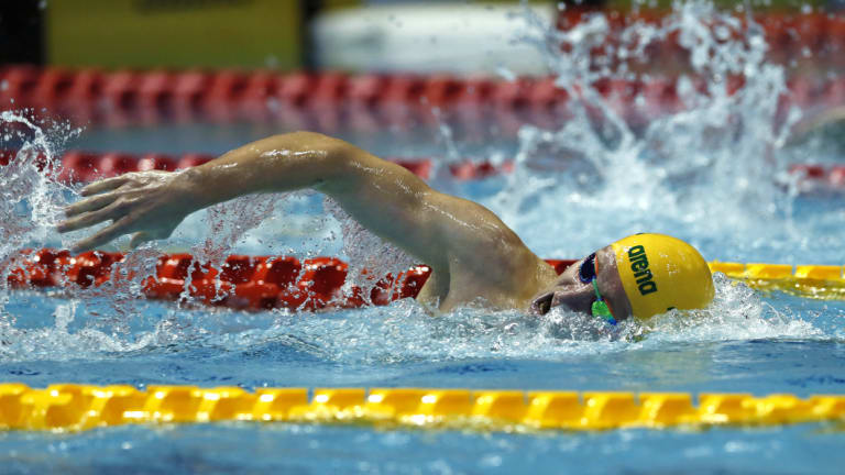 Toughing it out: Jack McLoughlin leads the way during his gold-medal swim in the men's 400m freestyle final.