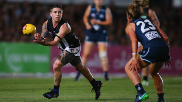 Role models: Collingwood's Cecilia McIntosh in action against Carlton last week.
