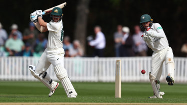 Travis Head on his way to a century against Worcestershire.