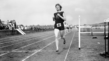 Diane Leather crosses the line to win the women's 880 yards in 2 minutes 15.8 seconds, 1956.