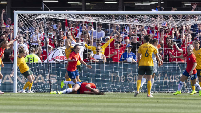 Before the run: Francisca Lara scores a goal for Chile against Australia at the Panthers stadium.