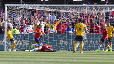 Against the run of play: Francisca Lara scores for Chile against Australia at Panthers Stadium.