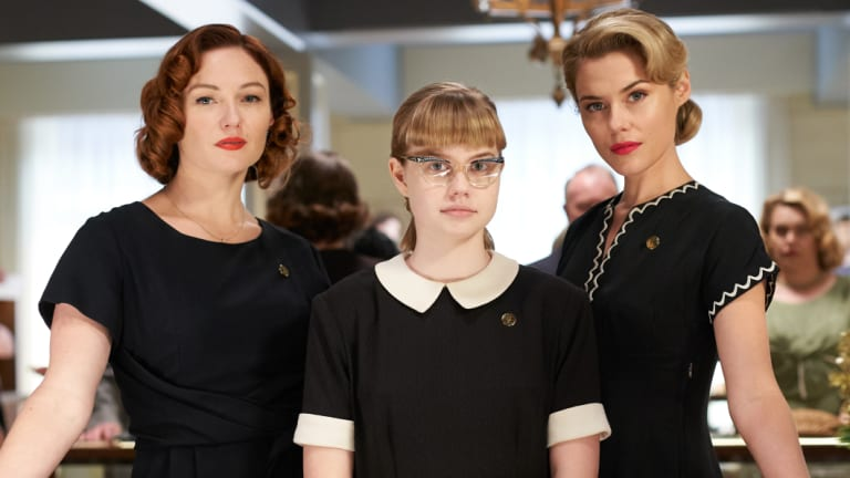 Alison McGirr as Patty Williams, Angourie Rice as Lisa Miles and Rachael Taylor as Fay Baines, in Ladies In Black.