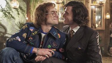 Taron Egerton as Elton John and Richard Madden as his lover John Reid in Rocketman.