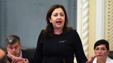 Queensland Premier Annastacia Palaszczuk in State Parliament on Tuesday.