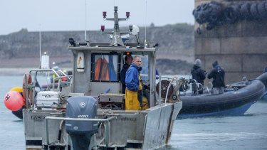 A French fishing vessel blocks the port of Saint Helier in Jersey on Thursday.