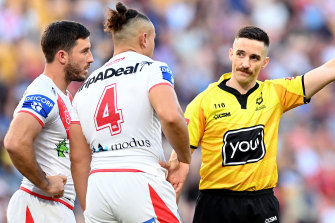 St George Illawarra's Tyrell Fuimaono gets his marching orders on Sunday.