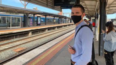Constantine Kuzmenko at Richmond Station after his first day back in the office on the first day 20-25% of workers were allowed to return to city offices.