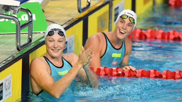 The lure of the International Swimming League may tempt Cate Campbell, left, with sister Bronte, to stay in the pool.