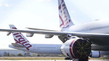 Virgin Australia wide-body aircrafts are seen parked in the Brisbane Airport in August.