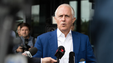 Former prime minister Malcolm Turnbull gives a media conference on Tuesday.