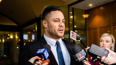 Jarryd Hayne leaves court after being convicted in March.