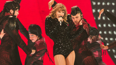Taylor Swift on stage at Marvel Stadium.