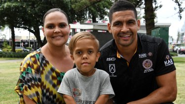 Yarraka Bayles with her son Quaden and South Sydney Rabbitohs star Cody Walker.