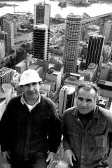 Seeing it through … Mr Kowalski and Mr Fortini were there as the tower neared completion in 1981.