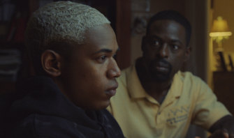 Tyler (Kelvin Harrison jnr) and his father Ronald (Sterling K. Brown) in a scene from Waves.
