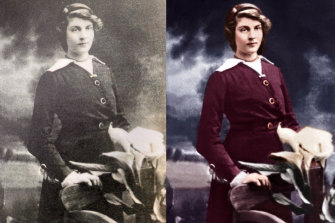 Photos of Greg Callaghan's paternal grandmother Vera Clarke before and after colourisation.