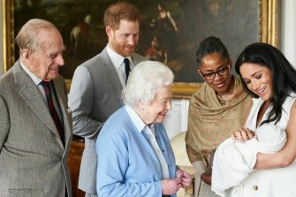 Prince Harry and Meghan, joined by her mother Doria Ragland, introduce Archie to the Queen and Prince Philip.